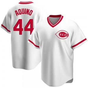Aristides Aquino Cincinnati Reds Youth Replica Home Cooperstown Collection Jersey - White