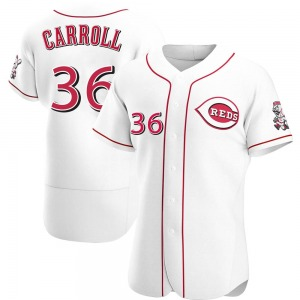 Clay Carroll Cincinnati Reds Authentic Home Jersey - White