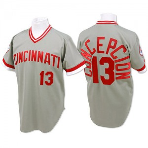 Dave Concepcion Cincinnati Reds Authentic Throwback Mitchell and Ness Jersey - Grey