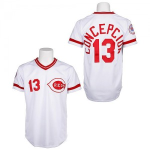 Dave Concepcion Cincinnati Reds Authentic Throwback Mitchell and Ness Jersey - White