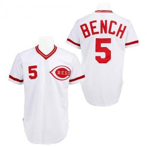 Johnny Bench Cincinnati Reds Replica Throwback Mitchell and Ness Jersey - White