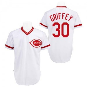 Ken Griffey Cincinnati Reds Replica Throwback Mitchell and Ness Jersey - White