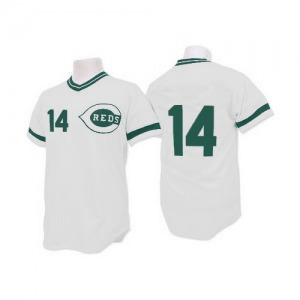 Pete Rose Cincinnati Reds Authentic (Green Patch) Throwback Mitchell and Ness Jersey - White
