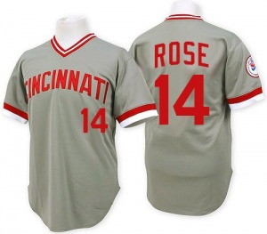 Pete Rose Cincinnati Reds Replica Throwback Mitchell and Ness Jersey - Grey
