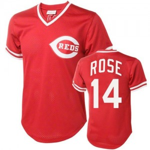 Pete Rose Cincinnati Reds Replica Throwback Mitchell and Ness Jersey - Red