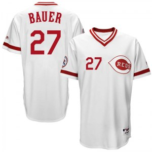 Trevor Bauer Cincinnati Reds Youth Replica Cool Base Turn Back the Clock Team Majestic Jersey - White