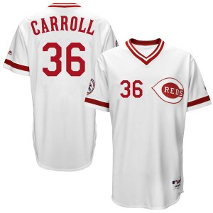 Clay Carroll Cincinnati Reds Youth Replica Cool Base Turn Back the Clock Team Majestic Jersey - White