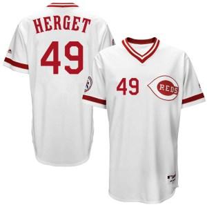 Jimmy Herget Cincinnati Reds Youth Replica Cool Base Turn Back the Clock Team Majestic Jersey - White