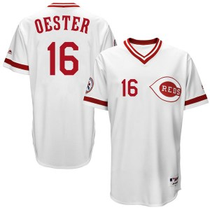 Ron Oester Cincinnati Reds Youth Replica Cool Base Turn Back the Clock Team Majestic Jersey - White