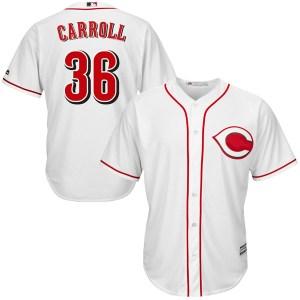 Clay Carroll Cincinnati Reds Replica Cool Base Home Majestic Jersey - White