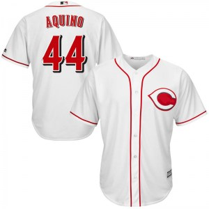 Aristides Aquino Cincinnati Reds Youth Replica Cool Base Home Majestic Jersey - White