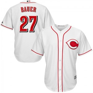 Trevor Bauer Cincinnati Reds Youth Replica Cool Base Home Majestic Jersey - White