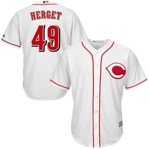 Jimmy Herget Cincinnati Reds Youth Replica Cool Base Home Majestic Jersey - White