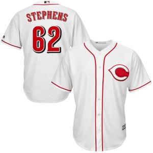 Jackson Stephens Cincinnati Reds Youth Replica Cool Base Home Majestic Jersey - White