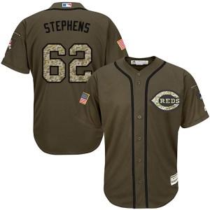 Jackson Stephens Cincinnati Reds Replica Salute to Service Majestic Jersey - Green