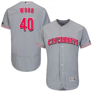 Alex Wood Cincinnati Reds Authentic Flex Base Road Collection Majestic Jersey - Gray