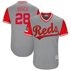 """Anthony DeSclafani Cincinnati Reds Youth Authentic """"DISCO"""" Gray/ 2018 Players' Weekend Flex Base Majestic Jersey - Red"""