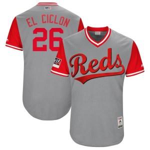 "Raisel Iglesias Cincinnati Reds Youth Authentic ""EL CICLON"" Gray/ 2018 Players' Weekend Flex Base Majestic Jersey - Red"