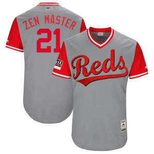 "Michael Lorenzen Cincinnati Reds Youth Authentic ""ZEN MASTER"" Gray/ 2018 Players' Weekend Flex Base Majestic Jersey - Red"