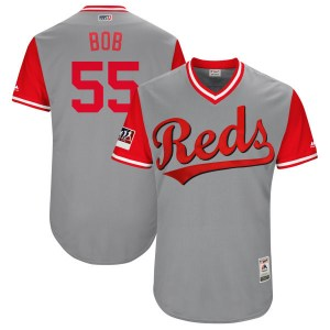 "Robert Stephenson Cincinnati Reds Youth Authentic ""BOB"" Gray/ 2018 Players' Weekend Flex Base Majestic Jersey - Red"