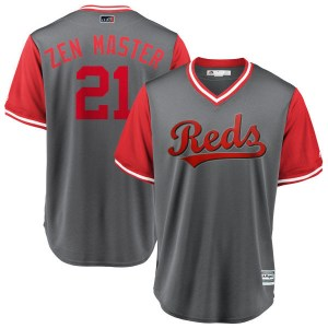 "Michael Lorenzen Cincinnati Reds Youth Replica ""ZEN MASTER"" Gray/ 2018 Players' Weekend Cool Base Majestic Jersey - Red"