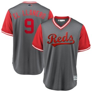 "Jose Peraza Cincinnati Reds Youth Replica ""EL LLANERO"" Gray/ 2018 Players' Weekend Cool Base Majestic Jersey - Red"