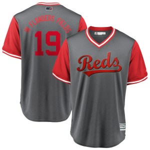"""Joey Votto Cincinnati Reds Youth Replica """"IN FLANDERS FIELDS"""" Gray/ 2018 Players' Weekend Cool Base Majestic Jersey - Red"""