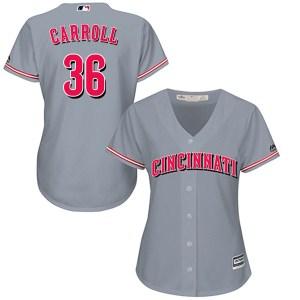 Clay Carroll Cincinnati Reds Women's Replica Cool Base Road Majestic Jersey - Gray