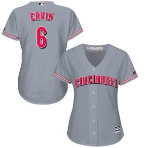 Phillip Ervin Cincinnati Reds Women's Replica Cool Base Road Majestic Jersey - Gray