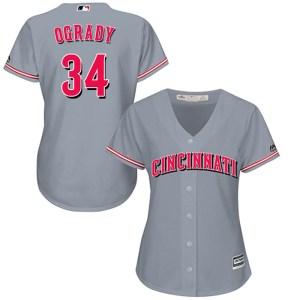 Brian OGrady Cincinnati Reds Women's Replica Cool Base Road Majestic Jersey - Gray