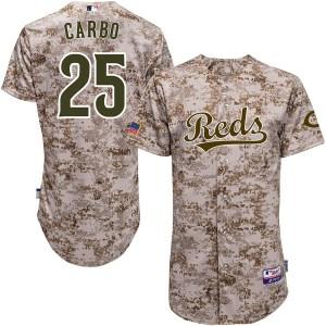 Bernie Carbo Cincinnati Reds Youth Replica Cool Base Alternate Majestic Jersey - Camo