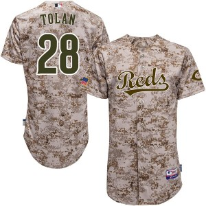 Bobby Tolan Cincinnati Reds Youth Replica Cool Base Alternate Majestic Jersey - Camo