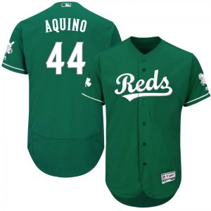 Aristides Aquino Cincinnati Reds Authentic Flex Base Celtic Collection Majestic Jersey - Green