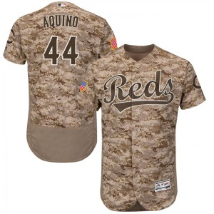 Aristides Aquino Cincinnati Reds Youth Authentic Flex Base Alternate Collection Majestic Jersey - Camo
