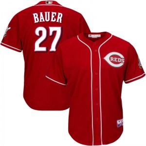 Trevor Bauer Cincinnati Reds Youth Replica Cool Base Alternate Majestic Jersey - Red