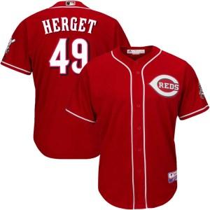 Jimmy Herget Cincinnati Reds Youth Replica Cool Base Alternate Majestic Jersey - Red