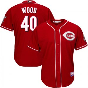 Alex Wood Cincinnati Reds Youth Replica Cool Base Alternate Majestic Jersey - Red