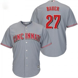 Trevor Bauer Cincinnati Reds Youth Replica Cool Base Road Majestic Jersey - Gray