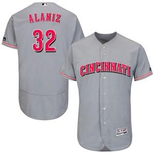 Ruben Alaniz Cincinnati Reds Youth Authentic Flex Base Road Collection Majestic Jersey - Gray
