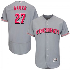 Trevor Bauer Cincinnati Reds Youth Authentic Flex Base Road Collection Majestic Jersey - Gray