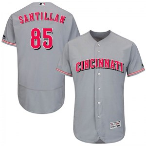 Tony Santillan Cincinnati Reds Youth Authentic Flex Base Road Collection Majestic Jersey - Gray