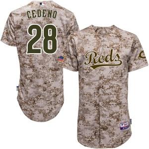 Cesar Cedeno Cincinnati Reds Replica Cool Base Alternate Majestic Jersey - Camo
