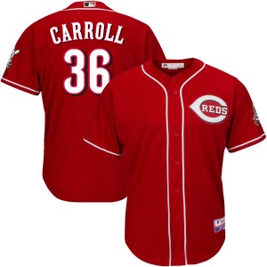 Clay Carroll Cincinnati Reds Youth Authentic Cool Base Alternate Majestic Jersey - Red