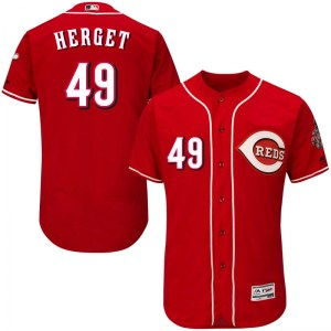 Jimmy Herget Cincinnati Reds Youth Authentic Flex Base Alternate Collection Majestic Jersey - Red