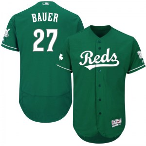 Trevor Bauer Cincinnati Reds Youth Authentic Flex Base Celtic Collection Majestic Jersey - Green