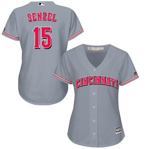 Nick Senzel Cincinnati Reds Women's Authentic Cool Base Road Majestic Jersey - Gray